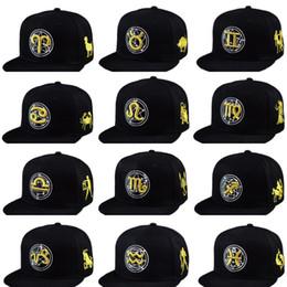 men and women Baseball Cap Snapback 12 Constellation Hip Hop Adjustable Hat Gold Zodiac