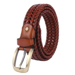 Wholesale New Arrival Genuine Leather Men Belts Needle Buckle Belts Elastic Braided Cowhide Leather Belts Casual Style Woven Men Straps