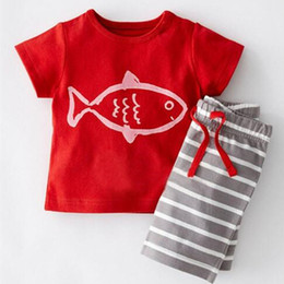 Summer boys clothing red fish pattern knit cotton boy clothing set tshirt+striped pants boys sets baby