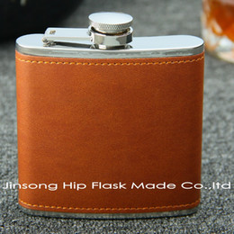 6 OZ Brown leather hip flask ,Personalized logo is available