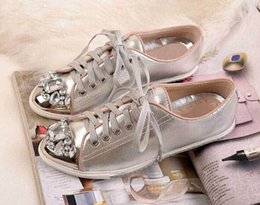 New 2016 Fashion silver Patent leather Women casual Shoes flats Shoes lace-up Comfortable Outdoor Walking Shoes with rhinestone