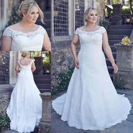 Wholesale 2016 Country Full Lace Plus Size Wedding Dresses Cheap Custom Made Backless Short Sleeves Big Size Fat Women Wedding Gown Bridal Dress