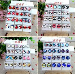 Wholesale Cheap Glasses Stones - 10mm Glass Stud Earrings for Women Cute Mixed Styles Earring for Lovers Jewelry Time Gem Stone Flag Earrings 12pairs lot Cheap Wholesale