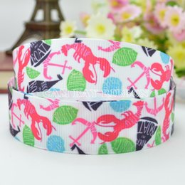 "7 8"" 22mm Cute Animal Shrimp Cartoon Printed Grosgrain Ribbon Hair Bow DIY Handmade Sewing Ribbon Crafts Materials Garments Decorating Tape"