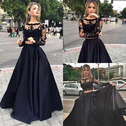 Wholesale Black Two Piece Evening Dresses Elegant Long Sleeve Prom Dress With Sheer Bateau Lace Top A Line Floor Length Satin Formal Gowns