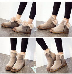 Wholesale Ladies Heeled Waterproof Leather Boots - Cheap Warm Waterproof Martin Boots Thick Winter Ladies Snow Ankle Boot Round Toes Flat Heels Antiskid Women Shoes