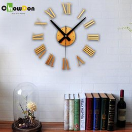 Wholesale New Imitation Metal D Stereo Roma Digits Home Decor Clocks Decorative Diy Wall Clock Gold and Silver