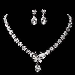 Wholesale Amazing Cheap Butterfly Wedding Jewelry Sets Rhinestones Crystal Bridal Necklace and Earrings Sets For Prom Party Hot