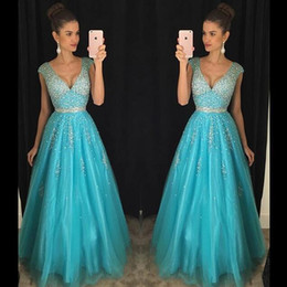 Blue Prom Dresses Crystal Beading Long Sexy Party Gowns With V Neck Zip Back Floor Length Formal New Girls Pageant Dress Ball Gow