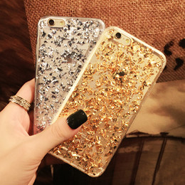 Gold Foil Bling Paillette Sequin Skin Clear Soft Silicone Fundas Cover Case For iPhone 5 5S 6 6Plus Ultra Slim Rubber Back Cover