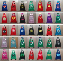 Wholesale Cape Styles - 35 Styles Double side kids Halloween Capes and masks - Batman Spiderman Ninja Turtles Flash Supergirl Batgirl Robin for kids capes with mask