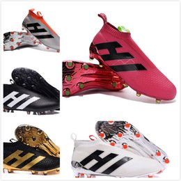 Wholesale 2016 New Cheap Best ACE Purecontrol Football Boots Cleats Pure FG AG Soccer ntrol High Ankle outdoor Boots top White Black Gold NICE