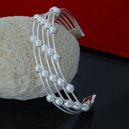 Factory direct wholesale 925 Sterling Silver cuff Bangle Bracelet 5 line frosted Bead Fashion Silver Bracelet
