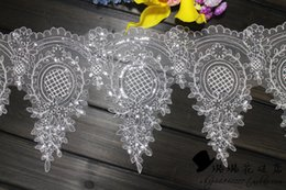 Mesh Embroidery Ivory Lace Trim With Sequins for wedding dress Sewing work Lace Material Sold by Yard 28cm Width Dress Accessories