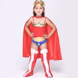 Wholesale Superhero Girls Wonder Woman Costume Children Dress Halloween Kids Cosplay Costumes Jumpsuit with Cloak Cape Scarf Stage Wear Outfits EK091