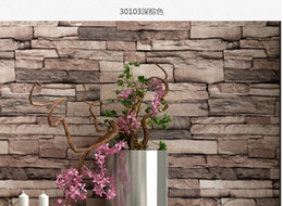 Wholesale 3D Luxury Wood Blocks Effect Brown Stone Brick M Vinyl Wallpaper Roll Living Room Background Wall Decor Art