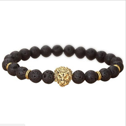 JLN Natural Lava volcanic Buddha Leo Lion Head Bracelet Black Lava Stone Bead Bracelets Men Women Jewelry Rope Chain Strand Bracelet