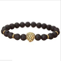 JLN Natural Lava volcanic Buddha Leo Lion Head Bracelet Black Lava Stone Bead Bracelets Men Women Jewelry Rope Chain Strand Bracelet