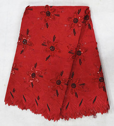 5 Yards lot red high cotton fabric with rhinestone flower decoration,beautiful african cotton lace fabric for clothing BC123-1