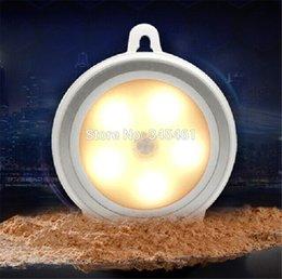 Wholesale Warm light Creative Mini Night Light Human Infrared Sensor Lamp ABS PC Closet Cabinet Light for Living Bedroom Bathroom