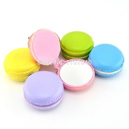Wholesale-15 Pieces lot 6CM Cute Squishy Yummy Macaroon Make Up Mirror Phone Straps Girls Key Chains Wholesale