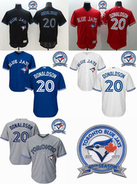 Wholesale Majestic - Blue jays 2016 Majestic #20 Josh Donaldson Stitched 40th Patches Baseball Jerseys Blue Jays Jerseys Wholesale Baseball Jerseys