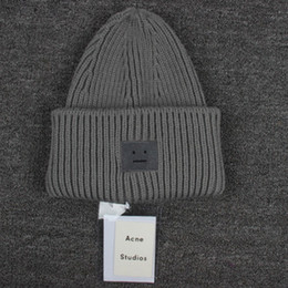 Wholesale hot Women winter knitted Warm hats Smile Face wool Knit beanie skull caps Sports Hats Basketball Caps skeleton hat