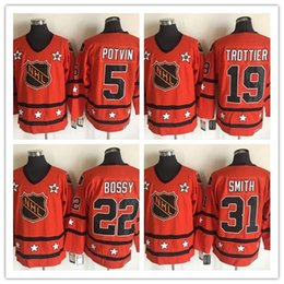 Wholesale 2016 All Star Mens Jerseys New York Denis Potvin Bryan Trottier Mike Bossy Billy Smith Orange Vintage CCM Ice Hockey Jersey