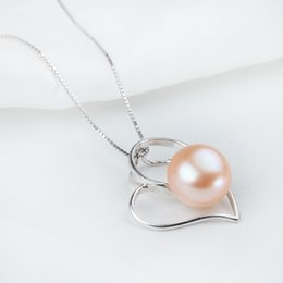 Genuine Freshwater Pearl Button Pendant Necklaces Luxurious Pearls Jewelry Inlay AAA Top Quality with 925 Silver Fitting