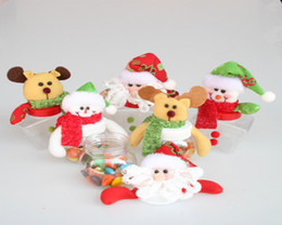 Cute Christmas Snowman Candy Bottle Santa Claus Stars Cloth Dolls Candy Can Plastic Festive Party Gift Ornaments 120pcs lot Drop Shipping