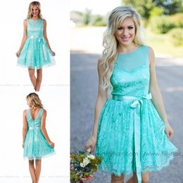 Summer Country Style Mint turquoise Sheer Neck Lace Bridesmaid dresses backless short ribbon sash party junior maid of honor gowns plus size