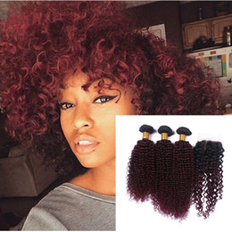 Wine Red #1B 99J Kinky Curly Hair Bundles With Lace Closure Middle Part Burgundy Ombre Kinky Curly Hair With Closure 4pcs Lot