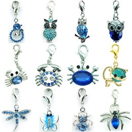 Wholesale DIY Mix Sale Brand New High Quality Fashion Blue Crystal Dangle Owl Crab Animal Floating Lobster Clasp Charms For Jewelry Accessories