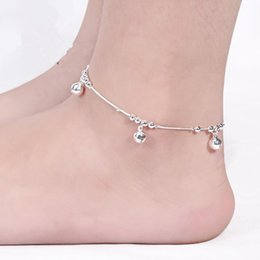 Wholesale Beautiful Three Bell Anklets Women Fashion Jewelry Sterling Silver Snake Chain Bracelet High Quality Female Exquisite Anklets Trendy New