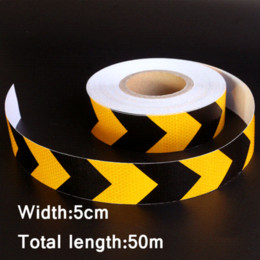 Wholesale 0mx5cm Motorcycle decoration Reflective Strips Glue Stickers For Car Styling Automobiles Arrow Safety Warning Adhesive Tape Cheap sticke