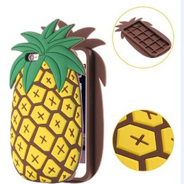 Wholesale 3D Cartoon Fruit yellow Pineapple green cactus Soft Silicon Case Cover For Iphone S Plus