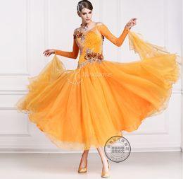 2016 new orange customize ballroom Waltz tango salsa Quick step competition dress