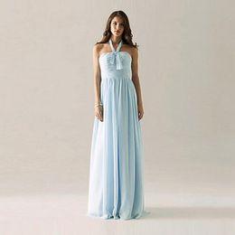 Long Chiffon Bridesmaid Dress in Light Sky Blue Halter Top A-line Women Wedding Party Dress Custom Size