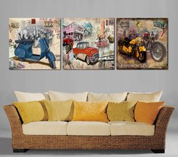 Free shipping 3 Pieces unframed picture Home decoration Canvas Prints Cartoon motorcycle car Lotus mouse American town fish flower Porcelain