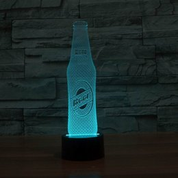 Wholesale Free shiping beer bottle shape3D illusion bulbing magic night light lamp HR Color Change USB Touch Acrylic Table Desk Lamp