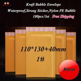 Descuento burbuja de papel kraft Al por mayor (100pcs / lot) 110x130 + 40mm Kraft Sobres de burbujas, papel amarillo acolchado envuelve Mailer con la etiqueta engomada fuerte y Bubble grueso 1 #
