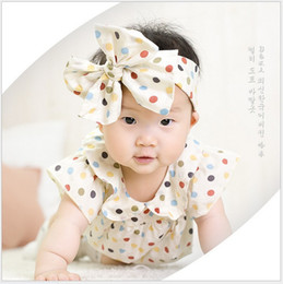 2016 Toddler Baby Rompers Infant Boys Girls Colourful Polka Dots Romper With HeadBand Newborn Babies Summer Short Sleeve Jumpsuits 0-24Month