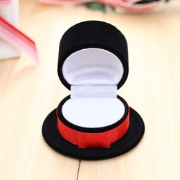 New Fasion Creative Flocking Velvet Rings Earrings Jewelry Storage Box Case Organizer Black Hat Hot