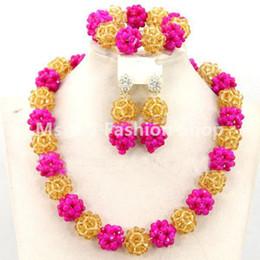 2018 Pretty fushia gold Bridesmaid Fashion Bead Necklace Set Choker Crystal Bead Seed Bead Lady Jewelry Wholesale Free Shipping