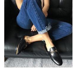 high quality~ u558 genuine leather horse bit slide flats shoes sandals loafer runway black check gold silver