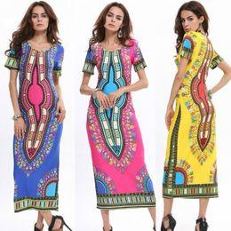 2016 Summer Women Casual Sexy Dress Women High Slit Dress Robe Longue Femme Print Maxi Dresses Robe Femme Women Vintage Ethnic wind dress