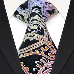 Classy F7 Multicolor Black Paisley Floral Men's Ties Neckties 100% Silk Jacquard Woven Free Shipping Wholesale Business Formal