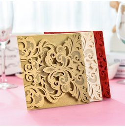 Wholesale 10Sets Wedding Cards Romantic Marriage Laser Cutting Invitation Card Business Party Supplies Envelope Delicate Carved Pattern