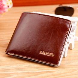 Wholesale quality Business Style Soft Oil Side Men short wallet PU Leather Money Purse Wallet Wallet For Men
