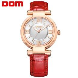 Mujer del estilo de reloj resistente al agua en venta-DOM mujeres de lujo de la marca de fábrica a prueba de agua de estilo de cuero de cuarzo relojes de moda femenina reloj 2016 reloj